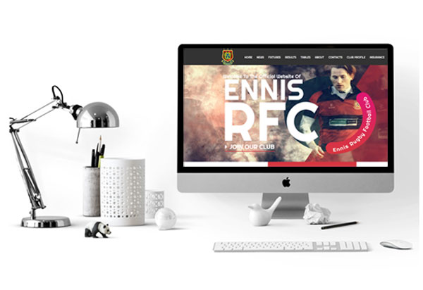 Ennis Rugby Website developed by SportLoMo